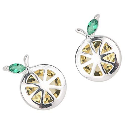 Amosfun 1 Paar von Zitrone Obst Ohrringe Ohr Bolzen S925 Silber Ohrring Anhänger Tropfen Baumeln Ohrringe für Frauen Mädchen