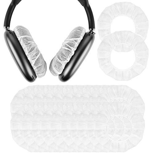 Geekria 100 pares de fundas desechables para auriculares AirPod Max, fundas para auriculares, fundas para auriculares, fundas higiénicas, elásticas, para auriculares de 8,4 a 10,33 cm, color blanco