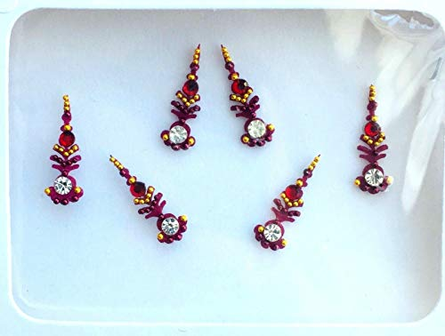 BB126 Red Bindi Goldkristallperlen Perlenstickerei Bindi Tattoo Stirn Aufkleber Hochzeit Tikka indische Fantasie-Partei-arabisches Gesicht Gem Körperkunst
