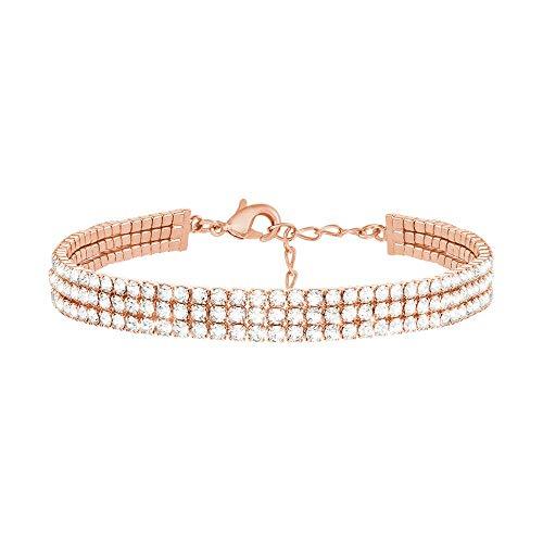 Stroili - Bracciale multifilo in metallo rosato con strass per Donna