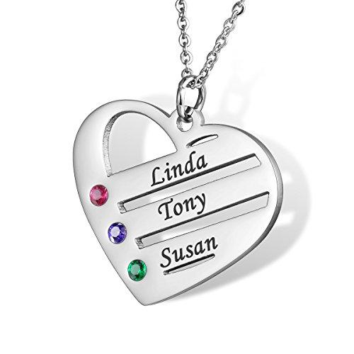 HOUSWEETY Familie Namenskette mit Geburtssteinen Hals-Kette - Personalisiert mit Ihrem eigenen Namen (Herz)