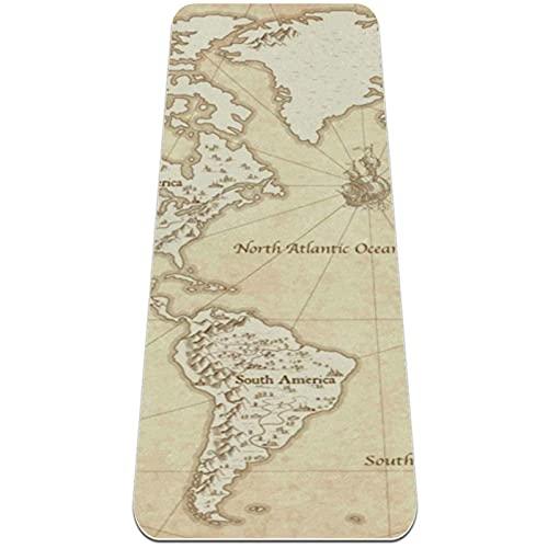 Esterilla de yoga gruesa de 6 mm Esterilla para ejercicios y ejercicios (72 'L x 24' W x 1/4 pulgada), mapa del mundo
