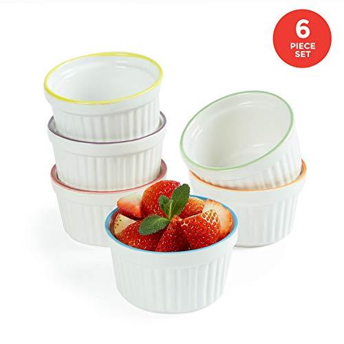 Uno Casa Weiße Keramik Creme Brulee Formen – 150 ml Souffleförmchen für Soufle und Eiscreme – Set bestehend aus 6 weißen Souffle Förmchen mit Buntem Rand