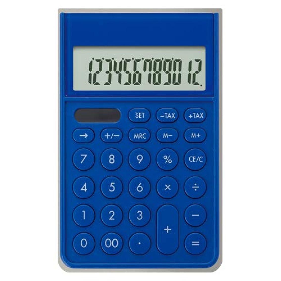 チャーター口述する災害アスカ カバー付き電卓 ブルー C1241B 【まとめ買い3個セット】