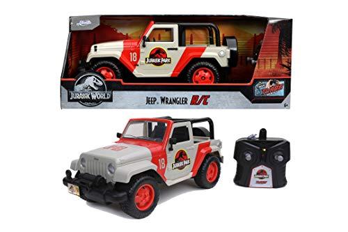 Jada - Jurassic Park Jeep Wrangler radiocontrol, Escala 1:16, con Mando, 2 Canales, batería Recargable por USB