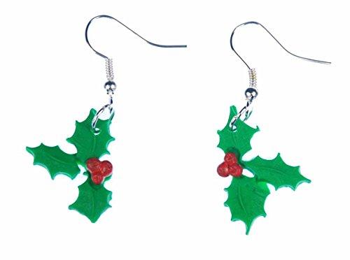 Miniblings Christusdorn Ohrringe Winterbeere Blätter rote Früchte Weihnachten Zweige - Handmade Modeschmuck I Ohrhänger Ohrschmuck versilbert