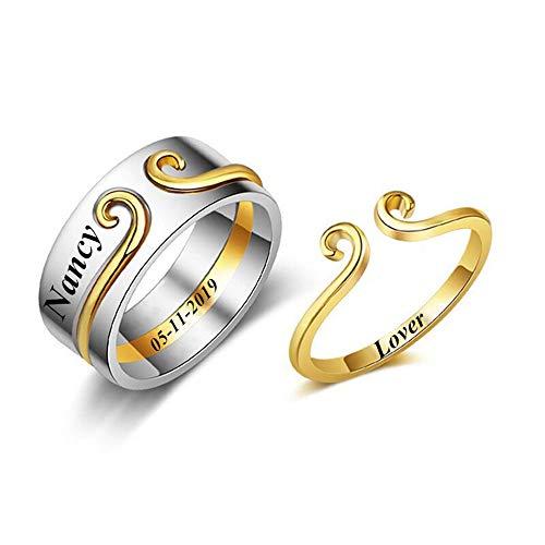 Yanday Anillo Personalizado para Parejas Nombre de Amante Personalizado Anillo de aro de Oro (Astilla de Oro 16.5)