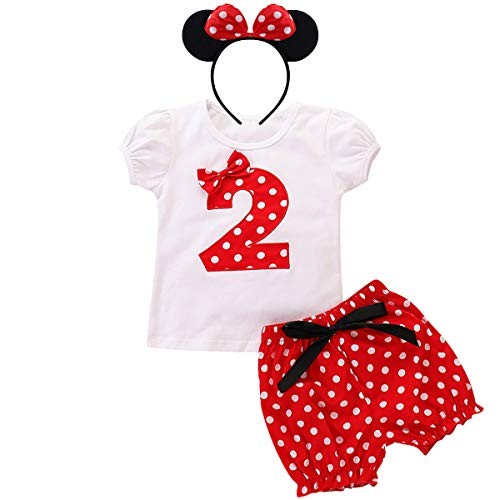 Little Baby Girls Holiday Costume Birthday Party Outfits Short Sleeve Tops+Polka Dots Pants+Ear Cake Smash Clothes 2nd Birthday 18-24 Months