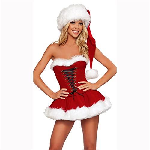 Tianbi Disfraz de Año Nuevo para mujer, vestido sexy rojo de Navidad + sombrero para fiesta de cosplay