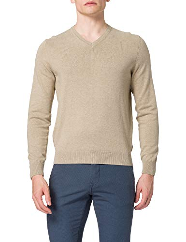 Daniel Hechter Knit V-Neck Pullover, Sabbia, M Uomo