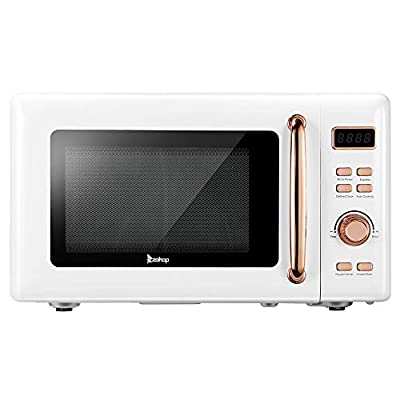 20L/0.7Cu.ft 700W Retro Microwave with LED Display and Metal Handle (White)