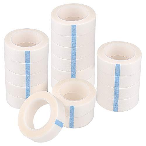 TUPARKA Paquet de 18 bandes de cils Ruban en papier blanc pour approvisionnement d'extension de cils, 0,5 pouce x 10 verges par rouleau