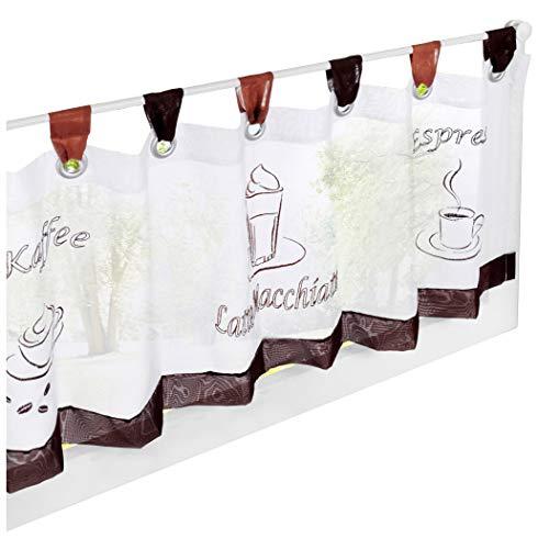 Home U 1PC Scheibengardine Voile Transparent Bistrogardine Bestickte Kleine Kaffee Vorhang (H*B 45 * 140cm, Kaffeebraun)