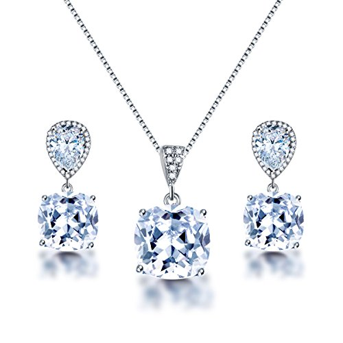 AMYJANE Wedding Jewelry Set for Bridesmaids - Elegant Sterling Silver Teardrop Clear Cubic Zirconia Crystal Rhinestone CZ Necklace Set for Bride Bridal Jewelry for Mother of Bride