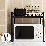 Vinteky - Soporte extensible de metal para horno de microondas (negro)