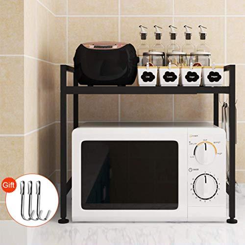 Soporte extensible de metal para horno de microondas (negro)