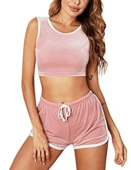 ADOME Women Cami Top and Shorts Velvet Sleepwear Sleeveless Pajama Set Soft 2 Pieces Outfit Camisole Sets Nightwear Pink Medium