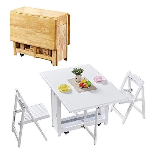 CHICAI 1.3M Mesa de Comedor Plegable Gota Hoja Mariposa de Madera Maciza Muebles de Cocina Natural de Pino-2 sillas colocadas