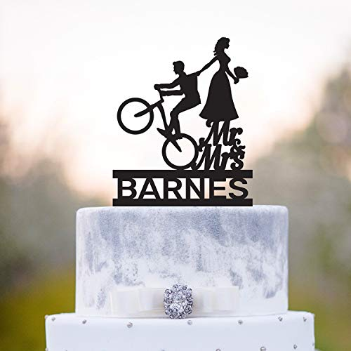 Bicicletta Wedding mr e mrs Divertente Cake Topper Bicicletta Coppia Mr e Mrs Wedding Cake Topper Bike Wedding mr mrs Torta Divertente toppera269