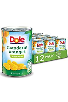 Dole Canned Mandarin Oranges All Natural Fruit in Light Syrup 15 Oz 12 Count