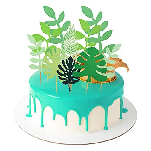 tao pipe Kuchen Topper, 21 Stücke Grünes Blatt Torten deko Topper für Kinder Geburtstag Party Dekoration Babyparty Familienessen Abschlussfeier