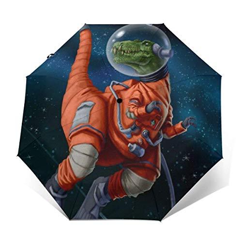A Prueba de Viento Compact One Hand Auto Open and Close Paraguas Plegable Dinosaur Astronauts Rex Rain & Outdoor Unbreakable Travel Umbrellas