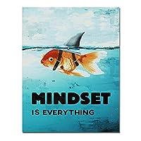 水中金魚水鮫魚動物キャンバス絵画マインドセットポスターとプリントクアドロスウォールアート画像フレームなし