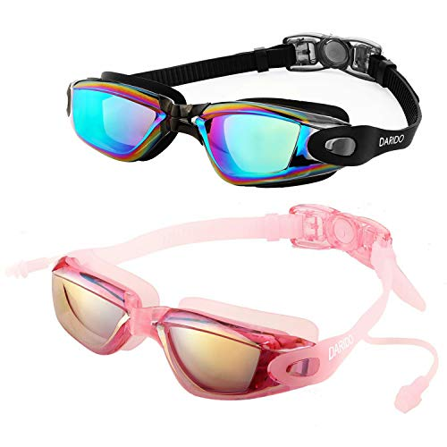 DARIDO Swim Goggles,Swimming Goggles Anti Fog UV Protection No Leaking,Best Clear Wide Vision Competition Training Swim Goggles of 2 Pack for Adult,Men,Women,Youth,Kids (Black/Pink)