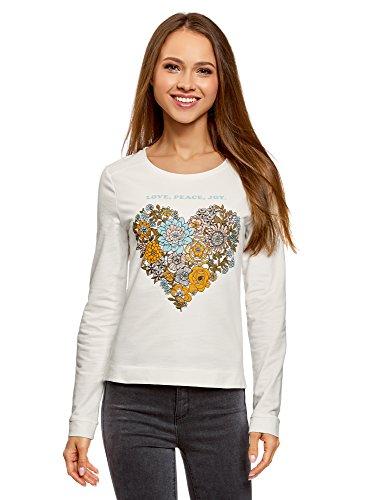 oodji Ultra Damen Bedrucktes Baumwoll-Sweatshirt, Weiß, DE 32 / EU 34 / XXS