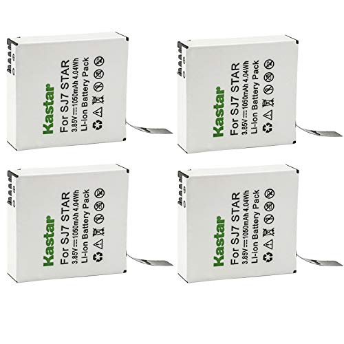 Kastar 4 Pack Battery Compatible with SJCAM SJ7 Star SJCAM SJ7B Battery and Charger, SJCAM SJ7 Star 4K Ultra HD Action Camera, SJCAM SJ7 Star Sport Camera