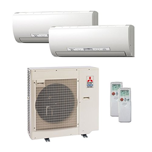 Mitsubishi 27,000 Btu 20 Seer Dual Zone Ductless Mini Split - 12K-15K - Heat Pump System (AC and Heat)