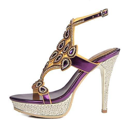 Sandalias para mujer, zapatos de estrás con dedos abiertos, zapatos altos, sandalias romanos de moda, sandalias grandes, fiesta de cóctel (talla 33 – 43), moda casual, 123, morado, 38