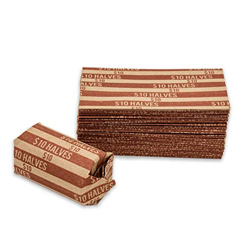 Half Dollar Coin Wrappers, 1,000 Flat Striped Coin Wrappers/Coin Rolls for Half Dollar Coins