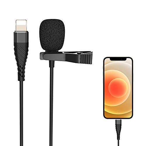 Lavalier Lapel Microphone Condenser Mic for iphone 8/8P/X/XR/11/12 for Collect sounds Omnidirectional, YouTube Vlogging/Facebook Interview/Livestream Video Recording 9.8 ft