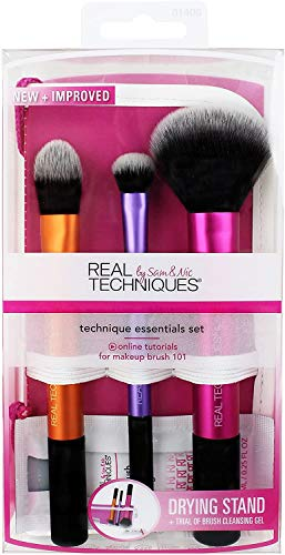Real Techniques Travel Esencial Kit Básico de 3 Brochas - 1 Pack