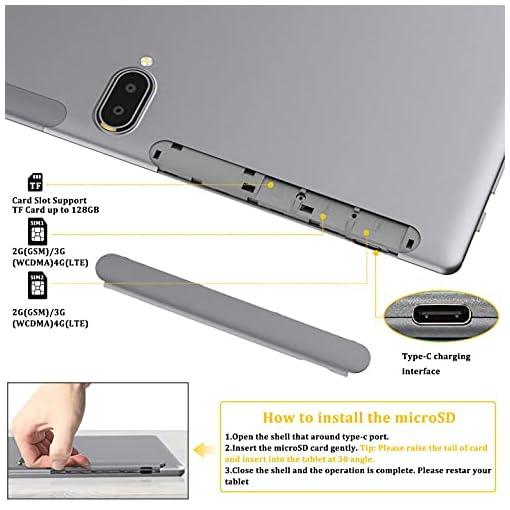 FEONAL Tablet 10 Pulgadas Android 10 4G LTE +WiFi, 4GB RAM+64GB ROM (TF 128GB), Octa-Core, Batería 6000mAh, Tableta con… 4
