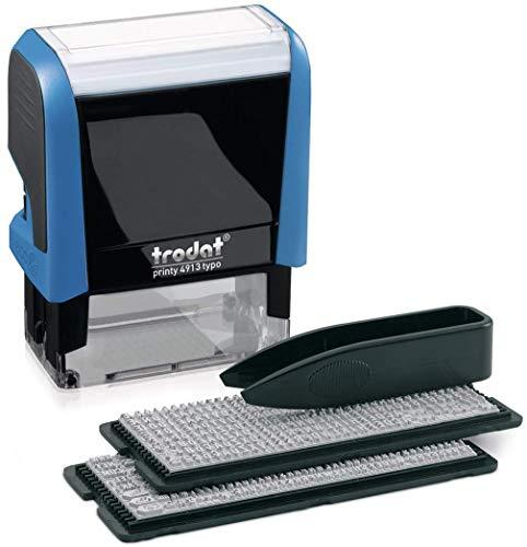 Trodat Printy 4913 Typo – Selbstfärbender Stempel zum Selbst Setzen von Text, 5 Zeilig, Abdruckfarbe schwarz, 58 x 22 mm