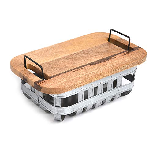 DEMOCRACY HOMES Metal Storage Basket with Wooden Chopping Board Suitable...