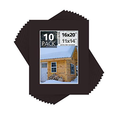 Passepartout-Center 10 Stück, 16 x 20 cm für 11 x 14 Foto-Matten – säurefrei, 4-lagige Dicke, weißer Kern – für Bilder, Fotos, Einrahmen, Well-Bred Brown