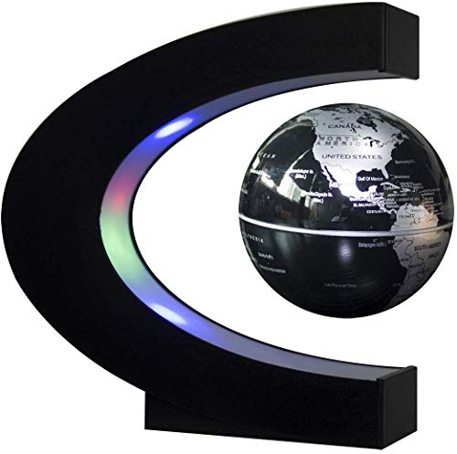 Trenzsary Floating Globe with LED Lights C Shape Magnetic Levitation Floating Globe World Map for Desk Decoration (Black)