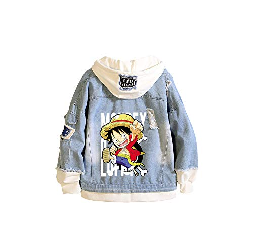 CXWLK One Piece Monkey D. Luffy Roronoa Zoro Shanks Chaqueta De Hombre, Mezclilla Azul De Mezclilla Denim Jacket Adulto Cosplay Jeans Hoodie Sudaderas Cárdigan,Blue,3XL