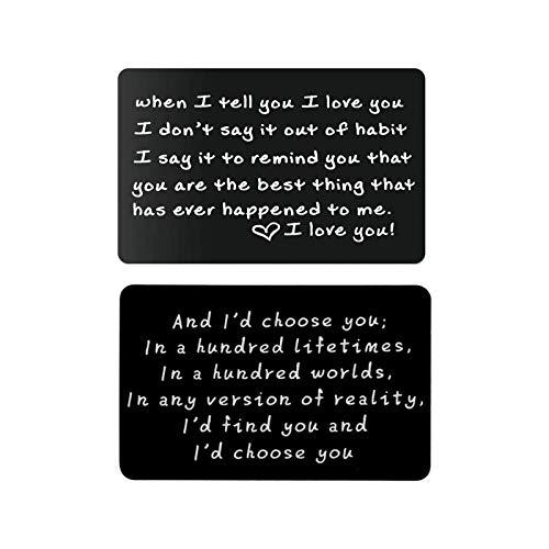 NULINULI Ich Liebe Dich Schriftzug Brieftasche Karte Romantische Mini Brieftasche Karte Paar Geschenk Brieftasche Dekoration 2PCS