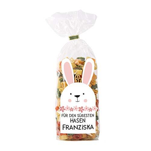 Herz & Heim® Hasen-Nudeln ein Ostergeschenk mit eigenem Etikett und Wunschnamen bedruckt