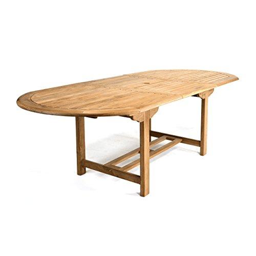 DIVERO GL05525 Großer ovaler ausziehbarer Gartentisch Esstisch Balkontisch Holz Teak Tisch für Terrasse Balkon Wintergarten witterungsbeständig behandelt massiv 170/230 cm natur