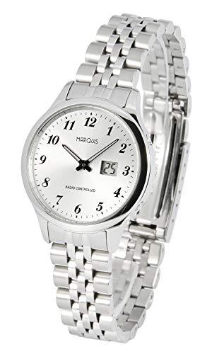 MARQUIS Damen Funkuhr, Gehäuse und Armband aus Edelstahl, Armbanduhr, Junghans-Uhrwerk 4780-601