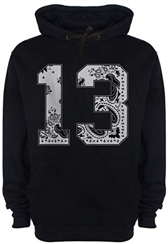 CaliDesign Men's Grey Bandana 13 Black Hoodie Cholo Chicano Mexican South Side Sweatshirt (3X - XXXL - 3XL)