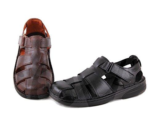 Innovation – 9015 – Herren-Sandalen aus Leder, Schwarz - Schwarz - Größe: 41 EU