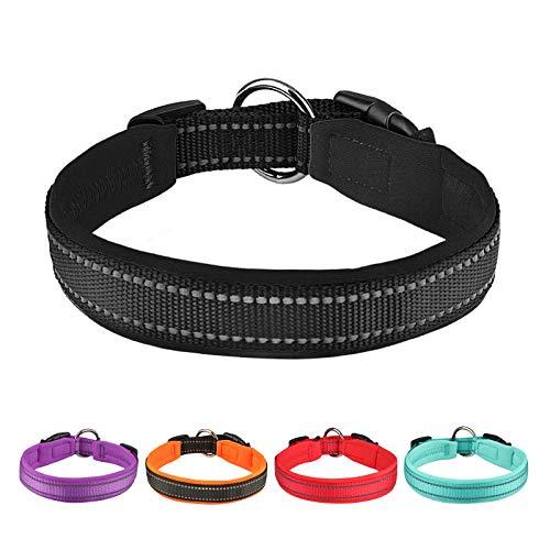 Collar Perro Pequeños Grandes Medianos Reflectante Collar para Perros Acolchado Suave Nylon Neopreno Ajustable Transpirable para la Caminata Diaria Corriendo - Negro - XL