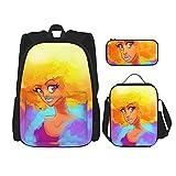 Combinación de mochila Afro black girl color art Backpack children's school bag, lunch bag with pencil case bag set, 3 in 1 school bag set