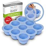 KIDDO FEEDO Freezer Tray with Silicone Clip-on Lid, Making Homemade Baby Food Storage Super Easy - Free E-Book by Award-Winning Author/Dietitian - Blue